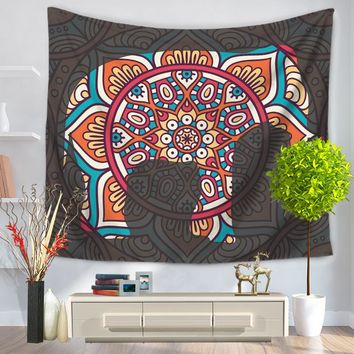 Indian Mandala Elephant Tapestry Hanging Polyester Throw Blanket Bedspread Mat Home Room Decor Supplies 150*200cm