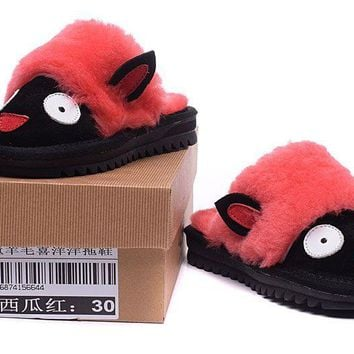 ESBON UGG Kid's Yeanling Slipper  Women Men Fashion Casual Wool Winter Snow Boots Red