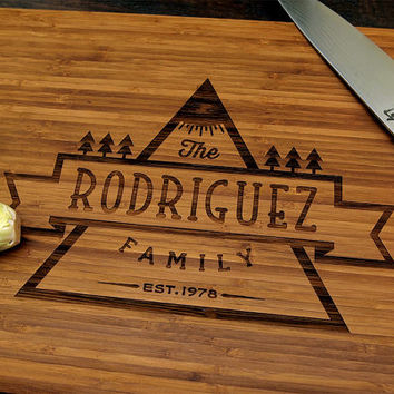 Personalized Cutting Board (Pictured in Amber), approx. 12 x 16 inches, Family Name Forest Banner - Wedding or Anniversary Gift