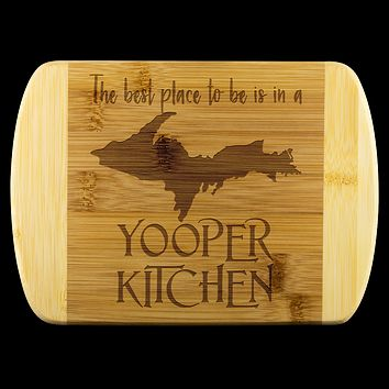 """Yooper Cutting Board for Upper Michigan Residents - 8"""" x 5.75"""" Bamboo Laser Engraved"""