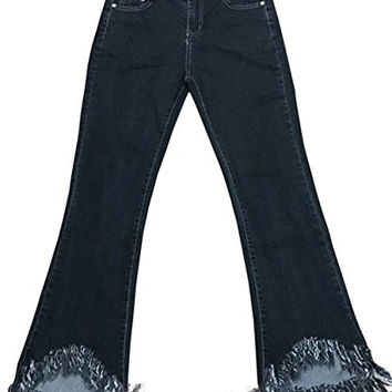 Betusline Women Distressed Stretch Skinny Tassel Bell-Bottom Flared Jeans