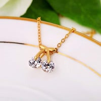 New Charm Women Cherry Rhinestone Crystal Pendant Sweater Chain Gold Necklace Fashion Jewelry