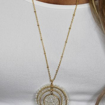 Three Circle White Gem Necklace