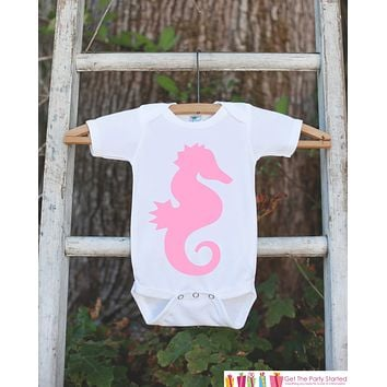 Pink Seahorse Bodysuit - Novelty Shirt For Toddler or Newborn Baby Girls - Seahorse Onepiece Birthday Outfit - Seahorse T-shirt in Pink