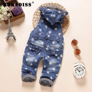 new 2017 autumn boys denim overall with hood baby girl jeans pant boys overalls children clothing G018