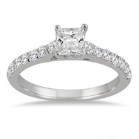 3/4 Carat Princess Cut Diamond Ring in 14K White Gold