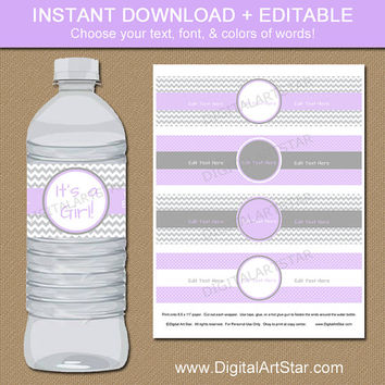 Lavender & Grey Baby Shower Water Bottle Labels - Printable Water Labels - EDITABLE PDF - Baby Shower Decorations - Baby Shower Supplies
