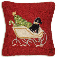 Black Lab on Red Sleigh Dog Wool Hand Hooked Pillow