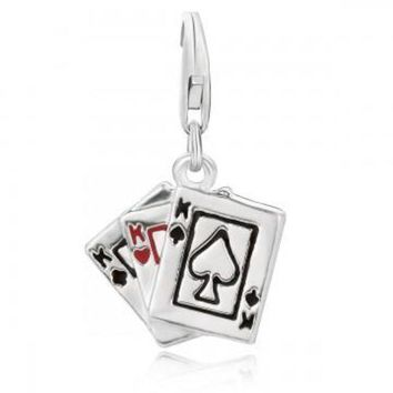 ac NOVQ2A Sterling Silver Playing Cards Charm