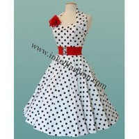 Rockabilly Dress white with black dots