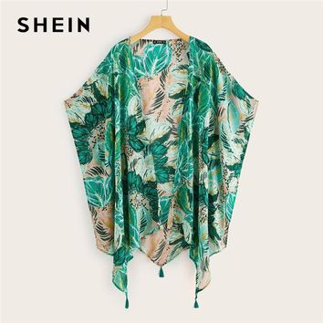 SHEIN Boho Multicolor Tropical Asymmetrical Hem Tassel Detail Kimono Cardigan Women Summer Batwing Sleeve Vacation Beach Kimonos
