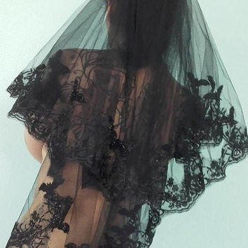 Black Veils - lace gothic occult bats funeral wedding victorian