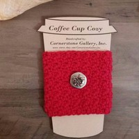 Red Coffee or Tea Cup Mug Cozy Sleeve Handmade Crochet Koozie w/ Faux Button