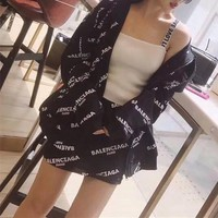 """Balenciaga"" Women Casual Simple Letter Print Hooded Cardigan Long Sleeve Short Skirt Set Two-Piece"
