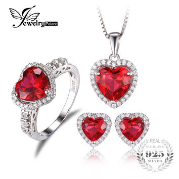 JewelryPalace Heart of Sea Love Created Ruby Ring Stud Earings Pendant Necklace 925 Sterling Silver Jewelry Sets Fine Jewelry