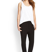 LOVE 21 Faux Leather-Trimmed Joggers Black