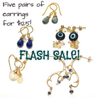 Flash Sale Gemstone Earrings Antler Earrings Lapis Earrings Moss Aquamarine Earrings Evil Eye Earrings Druzy Hoop Black Friday Cyber Monday