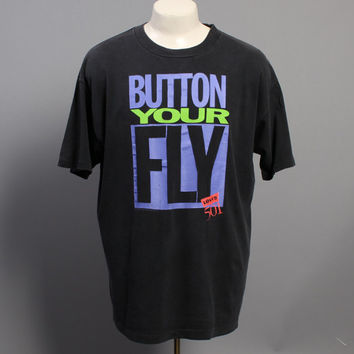 90s LEVI'S Novelty T-SHIRT / Button Your Fly 501s Tee, XL