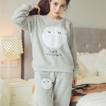 ONETOW Women's coral fleece nighty sleepwear cute owl pattern autumn & winter ladies long-sleeve pajamas nightwear nightgown set
