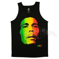 Bob Marley Face and Redemption Black Tank Top - Men's @ RastaEmpire.com