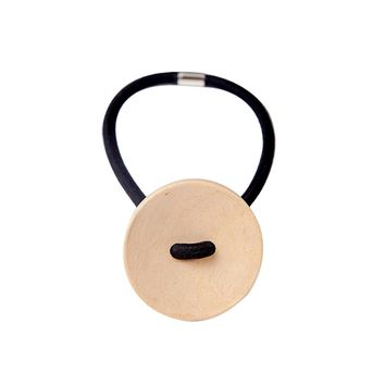 Women hair accessories Simple Wood Elastic Hair Tie Rope Band Ponytail Holder Button Fashion New Hot sale 2017 hairpins
