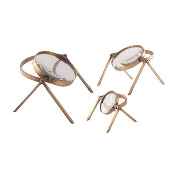 Oculi Decorative Magnifying Lenses In Antique Brass - Set of 3 Antique Brass