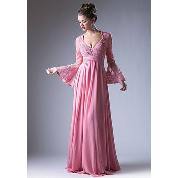 Ruched Bodice Long Formal Dress Lace Trumpet Sleeves Dusty Rose
