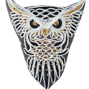XXL Extra Large 28cm Beautiful Owl Patch with Sequins