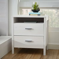Modern 2-Drawer Nightstand Bedside Table in Larch White Wash Woodgrain Finish