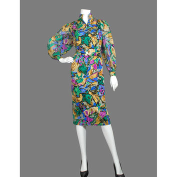 Vintage 80s Party Dress - 1980s Secretary Dress - Abstract Floral Dress - Puff Sleeve Dress - Rayon Dress - Midi Dress - ON SALE