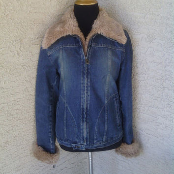 Steve Madden 90s blue jean jacket Xsmall faux fur collar and cuffs coat small