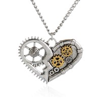 Jiayiqi Hot Silver Color Vintage Necklace Steampunk Lover Heart Chain Statement Necklace Classic Gear Summer Jewelry 2017
