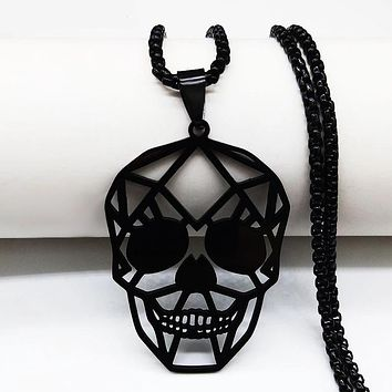 Black Skull Stainless Steel Chain Necklace Jewelry