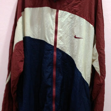 Vintage NIKE Multicolor big logo Windbreaker Lightweight trainer track Nylon Casuals Bomber Jacket L