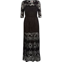 Black Chelsea Girl lace 3/4 sleeve maxi dress