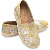 GOLD CANVAS PRINTED PALMS WOMEN'S AVALON SLIP-ONS