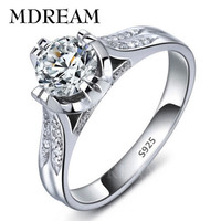 Platinum filled 925 sterling silver RIng and cubic zirconia Ring romantic wedding rings jewelry Factory price LSR075