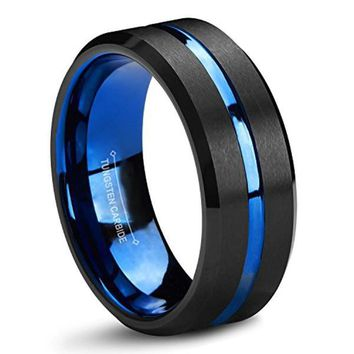 CERTIFIED 8 mm Blue and Black Tungsten Carbide Wedding Band Two Tone Brushed