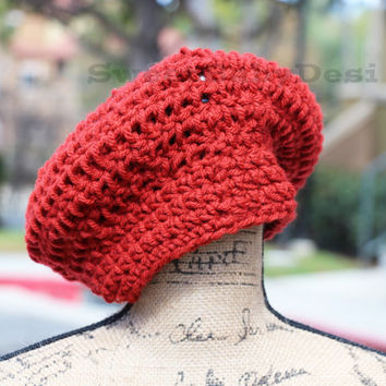 Red Slouchy Hat - Crochet Slouch Hat - Ladie's Winter Hat - Women's Chunky Wool Hat