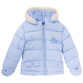Blue Puffa Coat with Faux Fur Trim and Mittens