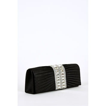 Center Glass Beads & Rhinestone Detail Pleated Clutch Bag