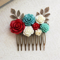 Floral Bridal Comb Teal and Red Rose Hair Comb Flower Wedding Hair Piece Branch Ivory Cream Floral Hair Accessories Romantic Jewel Tones