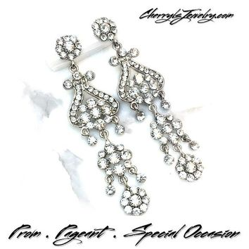 National Pageant Level Crystal Chandelier Earrings