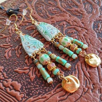 Floral Earrings, Dangle Earrings, Long Earrings, Beaded Earrings, Green Earrings, Handmade Earrings, Bohemian Jewelry