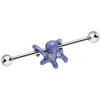 925 Sterling Silver Purple Glitter Party Octopus Industrial Barbell | Body Candy Body Jewelry