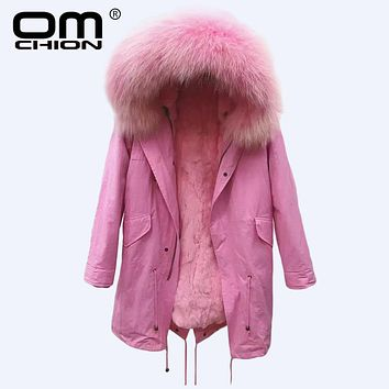 OMCHION Luxury Real Fox Fur Duck Down Coat 2017 New Hooded Winter Jacket Women Long Detachable Lining Warm Parka QYR07