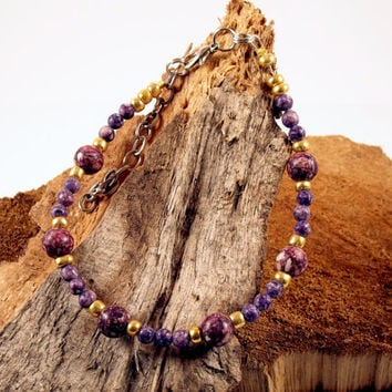 Galaxy Purple and Gold Bracelet Space Boho Bracelet