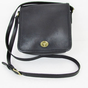 Vintage Coach Black Leather Legacy Companion Crossbody Shoulder Bag 9076