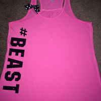 #BEAST - Ruffles with Love - Racerback Tank - Womens Fitness - Workout Clothing - Workout Shirts with Sayings
