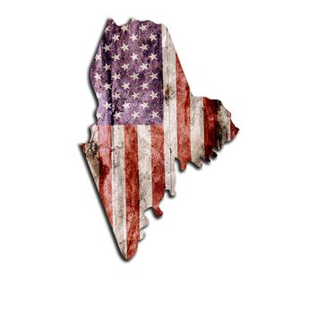 Maine Distressed Tattered Subdued USA American Flag Vinyl Sticker